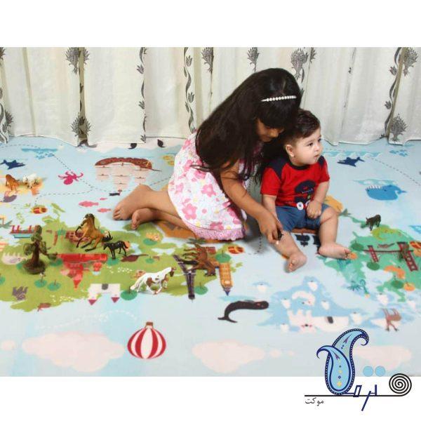 فرش بازی کودک طرح دنیا