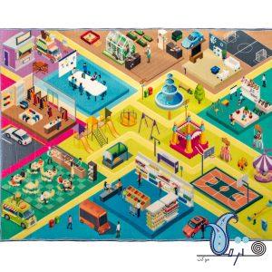 فرش بازی کودک طرح فروشگاه