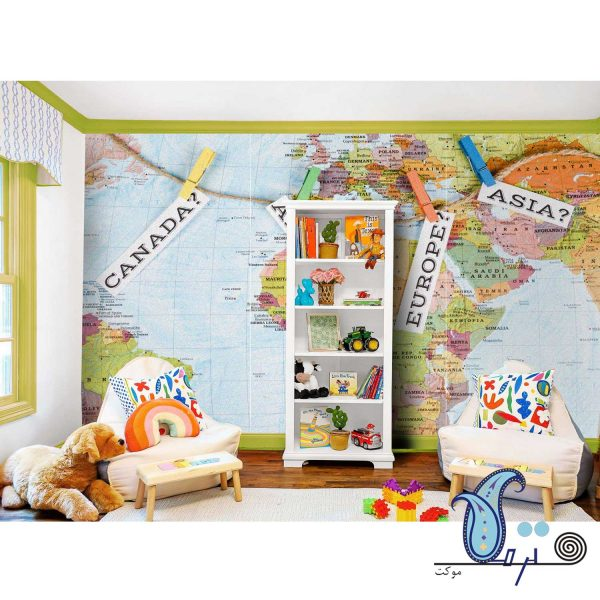 دیوارپوش نمدی طرح نقشه جهان