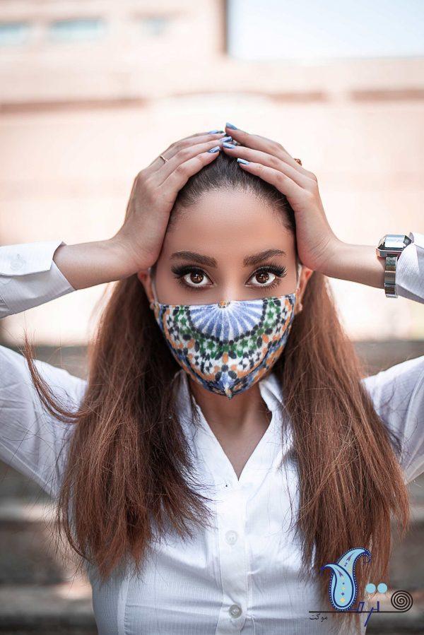 ماسک سه لایه طرح مراکشی- فشن ماسک ترمه